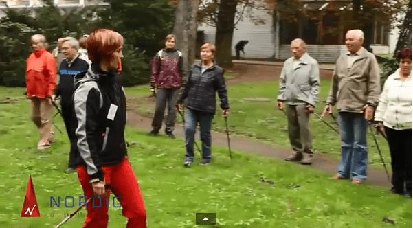 Nordic walking v lázních Bohdaneč, ukázky, rozhovory